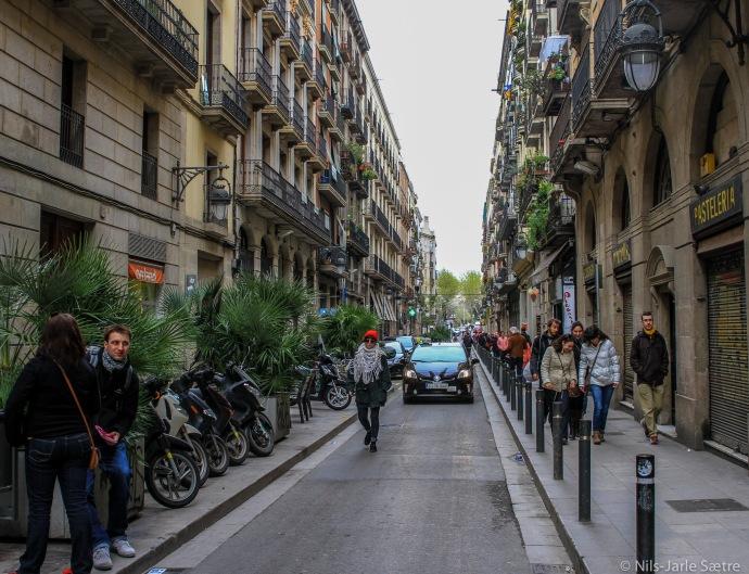 En typisk gate i Barcelona.